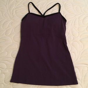 Lucy black & purple work out top, size S